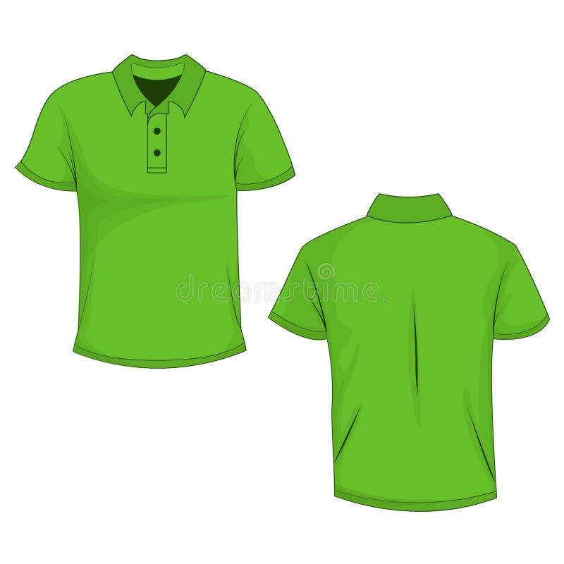 Πράσινο πόλο, χλεύη μπλουζών επάνω, μπροστινή και πίσω άποψη, που απομονώνεται στο άσπρο υπόβαθρο διανυσματική απεικόνιση