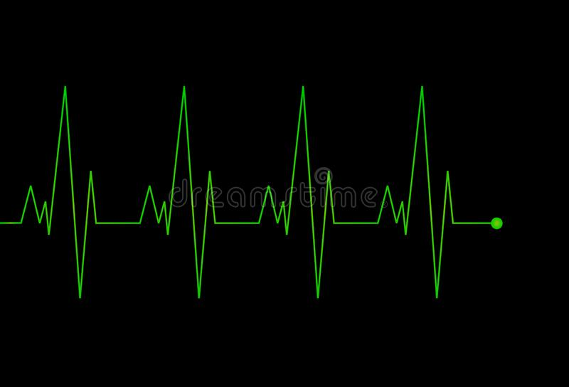 Πράσινο σημάδι καρδιογραφημάτων διανυσματική απεικόνιση