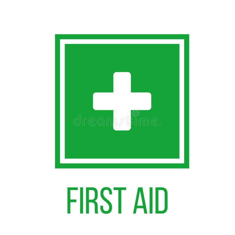 Πράσινο σημάδι πρώτων βοηθειών στο τετράγωνο επίπεδο εικονίδιο για τα apps, ιστοχώρος, ετικέτες, σημάδια, αυτοκόλλητες ετικέττες  ελεύθερη απεικόνιση δικαιώματος
