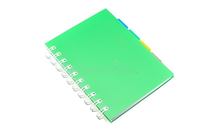 Πράσινο σημειωματάριο συνδέσμων δαχτυλιδιών στοκ εικόνα