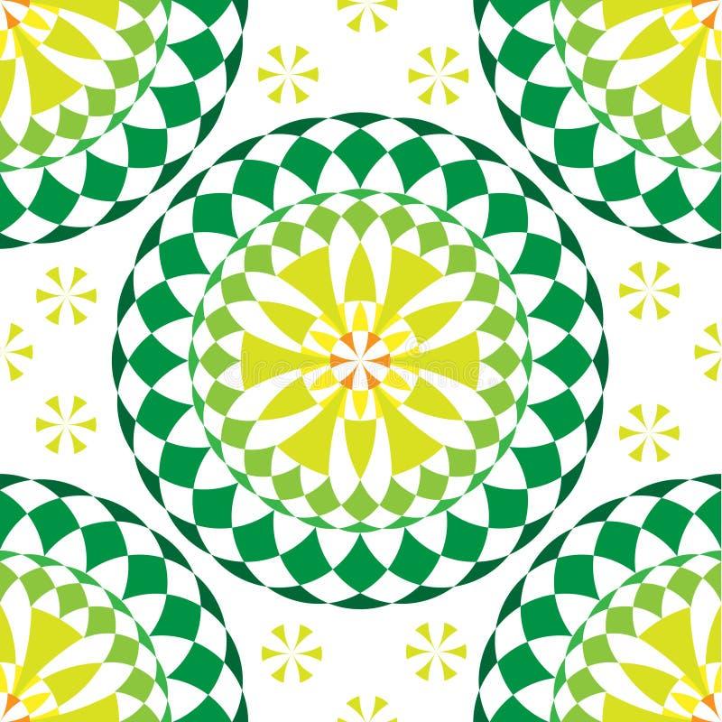 Πράσινο στρογγυλό άνευ ραφής σχέδιο mandala ελεύθερη απεικόνιση δικαιώματος