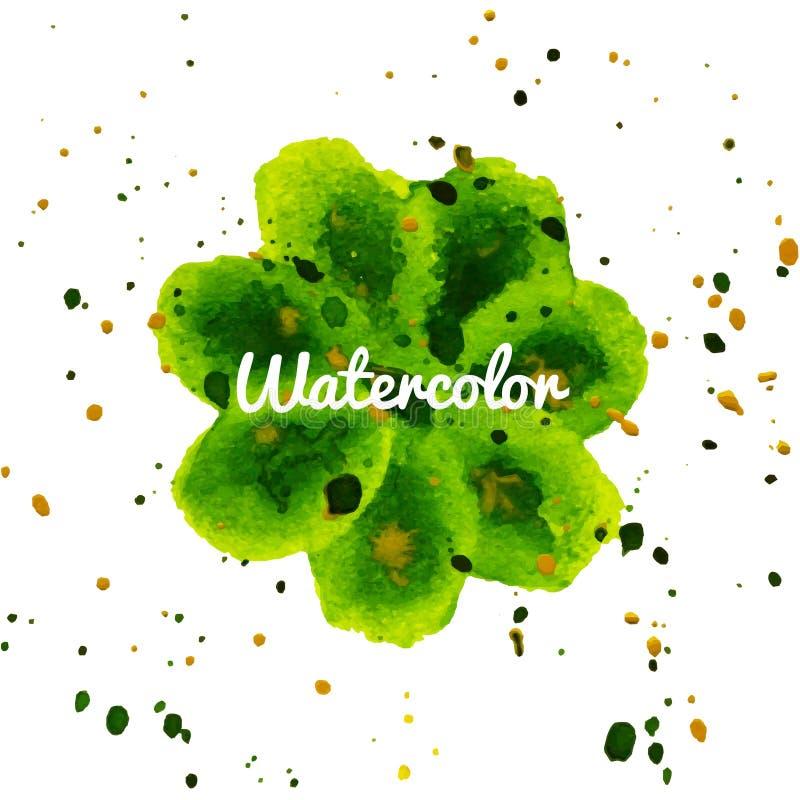 Πράσινο συρμένο χέρι υπόβαθρο watercolor παφλασμών λουλουδιών ελεύθερη απεικόνιση δικαιώματος