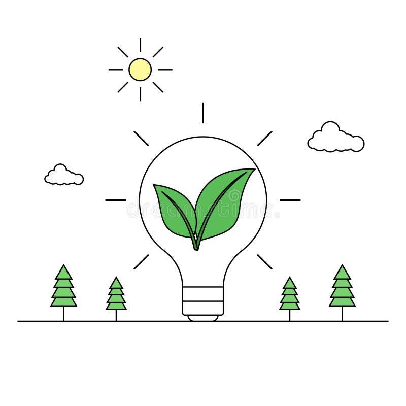 Πράσινο σχέδιο γραμμών έννοιας ενεργειακής ιδέας ελεύθερη απεικόνιση δικαιώματος