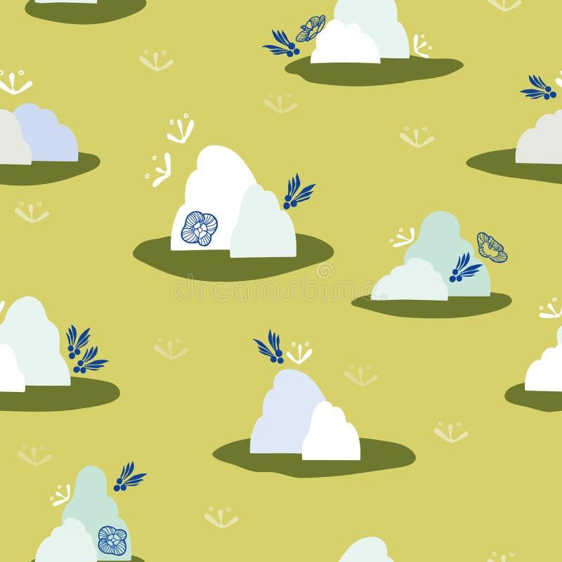 Πράσινο σχέδιο με το βουνό και το σύννεφο απεικόνιση αποθεμάτων