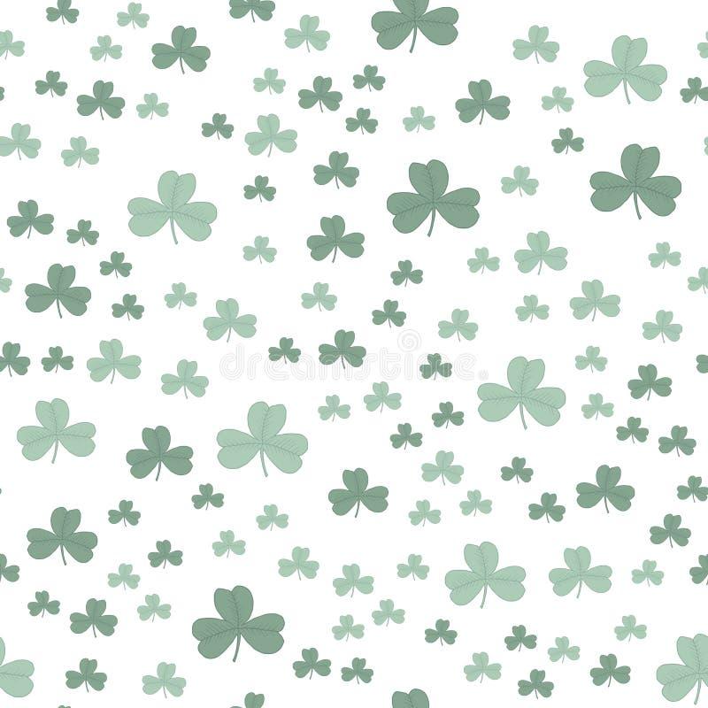 Πράσινο σχέδιο τρεις-φύλλων τριφυλλιού άνευ ραφής διανυσματική απεικόνιση