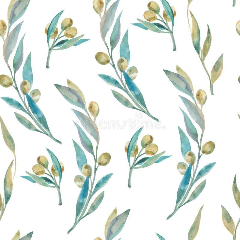 Πράσινο σχέδιο ελιών Watercolor Κλαδί ελιάς ελεύθερη απεικόνιση δικαιώματος