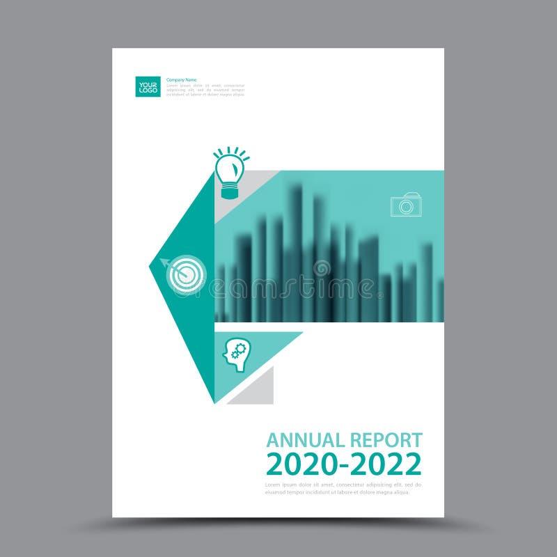 Πράσινο σχεδιάγραμμα προτύπων φυλλάδιων, ετήσια έκθεση σχεδίου κάλυψης, περιοδικό, ιπτάμενο ή βιβλιάριο A4 ελεύθερη απεικόνιση δικαιώματος