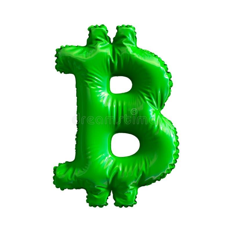 Πράσινο σύμβολο bitcoin φιαγμένο από διογκώσιμο μπαλόνι που απομονώνεται στο άσπρο υπόβαθρο διανυσματική απεικόνιση