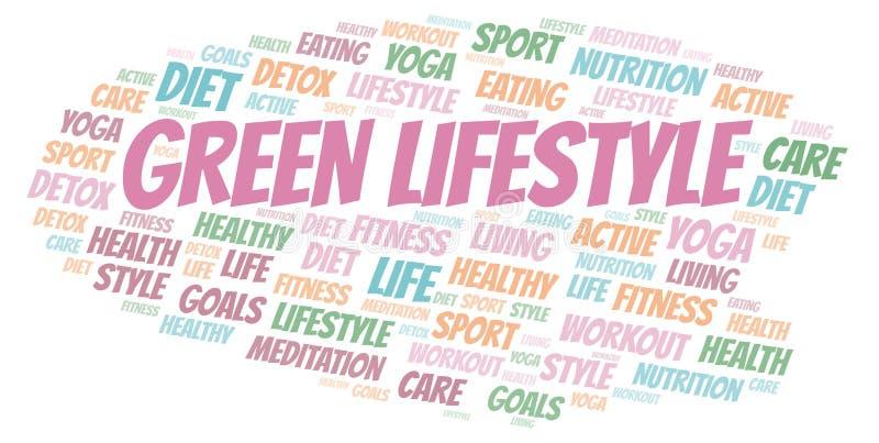 Πράσινο σύννεφο λέξης τρόπου ζωής απεικόνιση αποθεμάτων