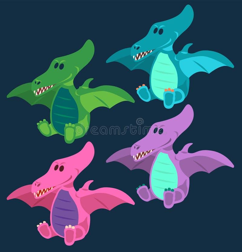 Πράσινο σύνολο δεινοσαύρων μωρών παιχνιδιών διανυσματική απεικόνιση