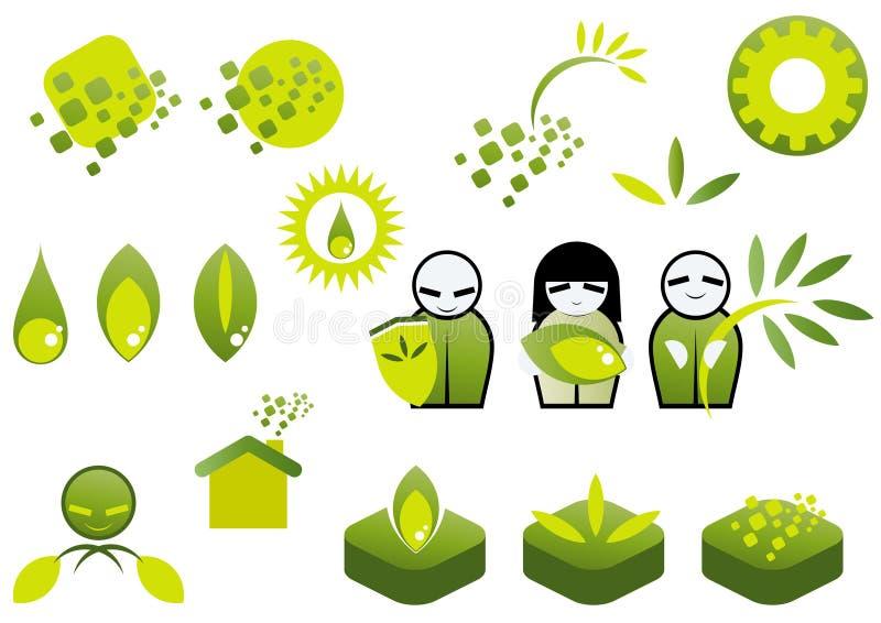 πράσινο σύνολο εικονιδί&omeg διανυσματική απεικόνιση