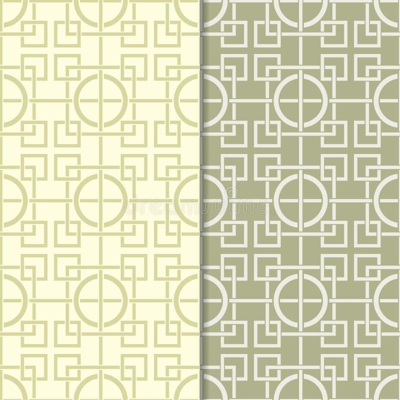 Πράσινο σύνολο ελιών άνευ ραφής γεωμετρικών σχεδίων διανυσματική απεικόνιση