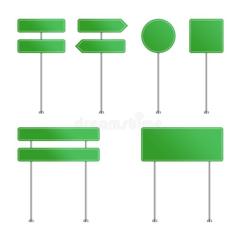 Πράσινο σύνολο οδικών σημαδιών ελεύθερη απεικόνιση δικαιώματος