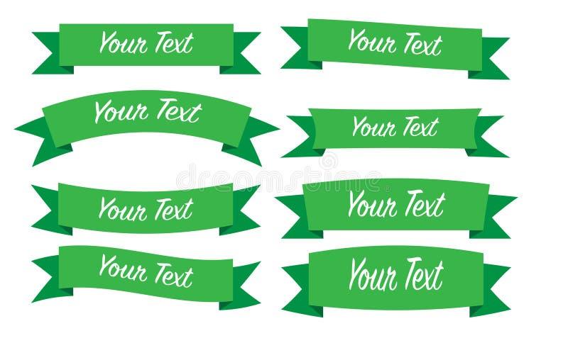 Πράσινο σύνολο κορδελλών διανυσματική απεικόνιση