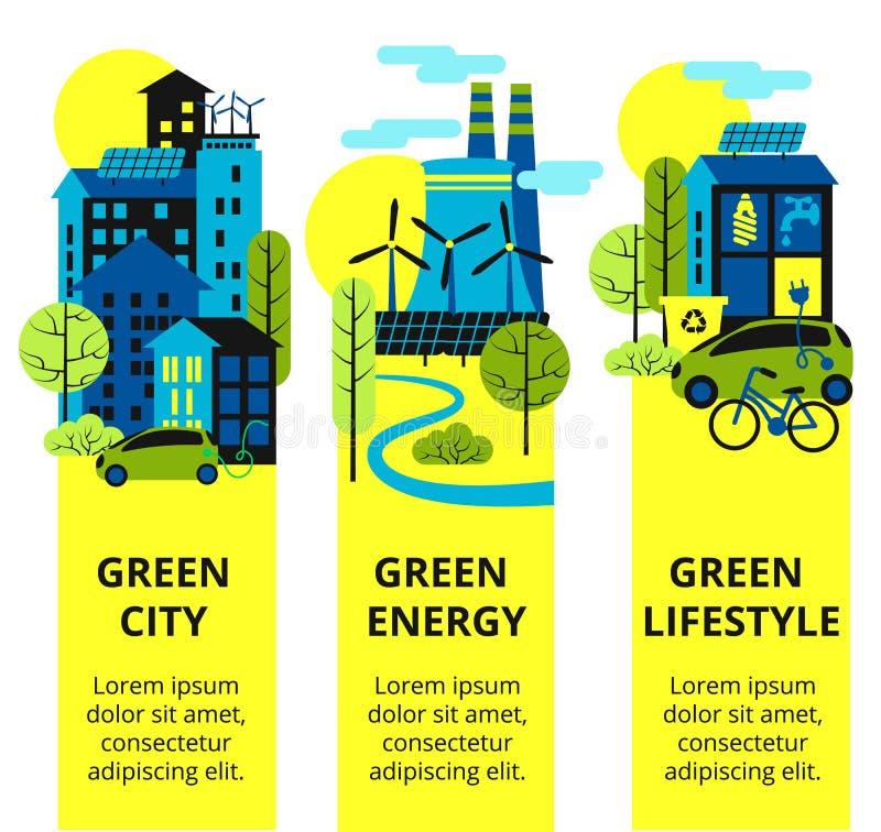 Πράσινο σύνολο πόλεων Προστασία του περιβάλλοντος, κάθετα εμβλήματα έννοιας οικολογίας καθορισμένα επίσης corel σύρετε το διάνυσμ στοκ φωτογραφία