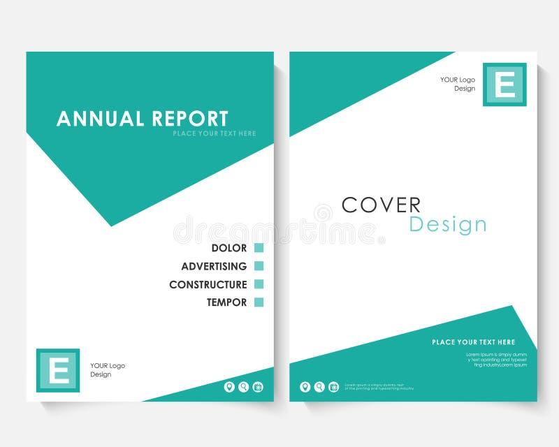 Πράσινο τετραγωνικό διάνυσμα προτύπων σχεδίου κάλυψης ετήσια εκθέσεων Χαρτοφυλάκιο ιστοχώρου παρουσίασης έννοιας φυλλάδιων Άσπρο  απεικόνιση αποθεμάτων