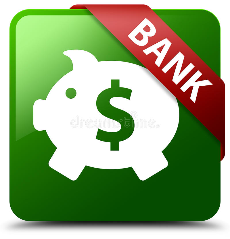 Πράσινο τετραγωνικό κουμπί σημαδιών δολαρίων παραθύρων τράπεζας piggy ελεύθερη απεικόνιση δικαιώματος