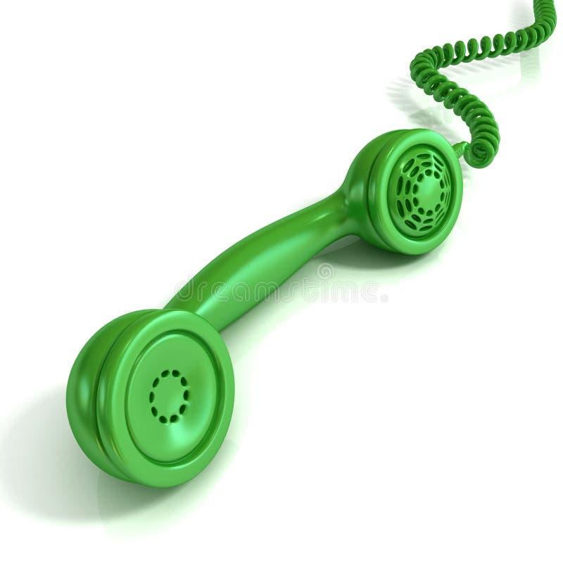 Πράσινο τηλεφωνικό μικροτηλέφωνο, αναδρομική απεικόνιση για το σχέδιο ελεύθερη απεικόνιση δικαιώματος