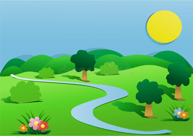 Πράσινο τοπίο χωρών διανυσματική απεικόνιση