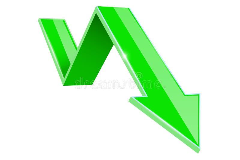 Πράσινο τρισδιάστατο κάτω βέλος Οικονομική γραφική παράσταση απεικόνιση αποθεμάτων