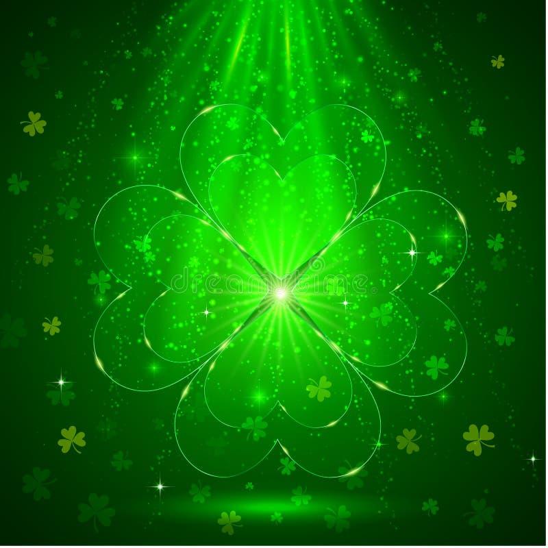 Πράσινο τριφύλλι γυαλιού στη μαγική ελαφριά ανασκόπηση απεικόνιση αποθεμάτων