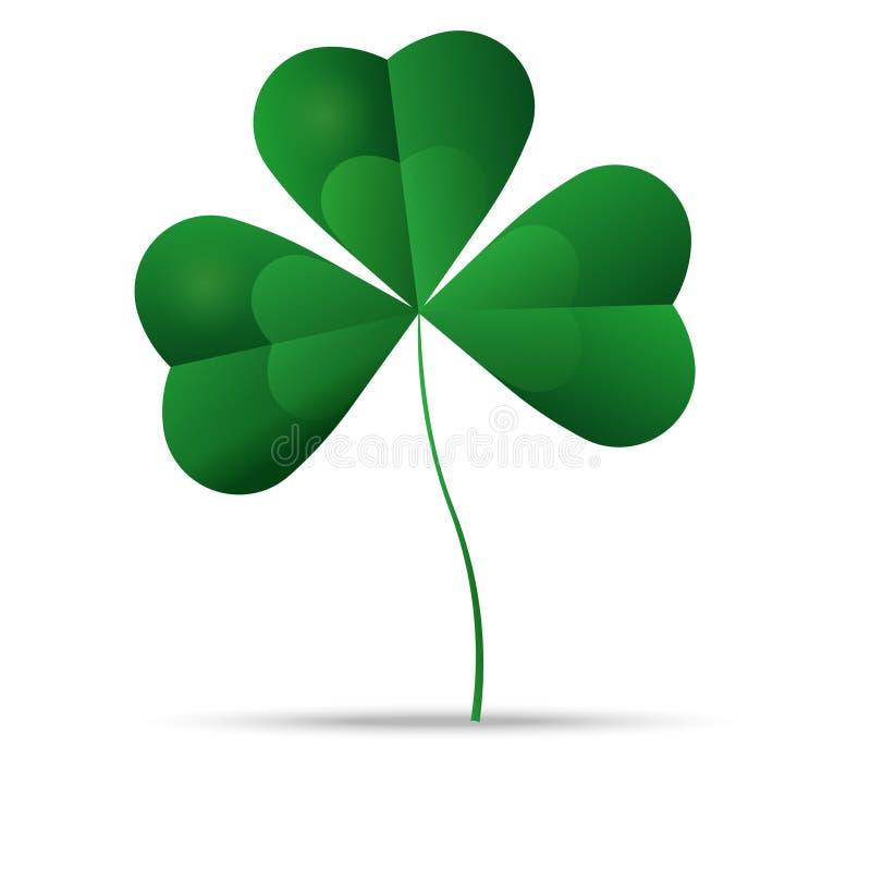 Πράσινο τριφύλλι, τριφύλλι τριών φύλλων, διάνυσμα απεικόνιση αποθεμάτων