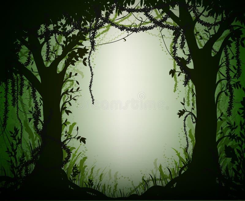 Πράσινο τροπικό δάσος αλσυλλίων, βαθιά δασική σκιαγραφία νεράιδων, απεικόνιση αποθεμάτων