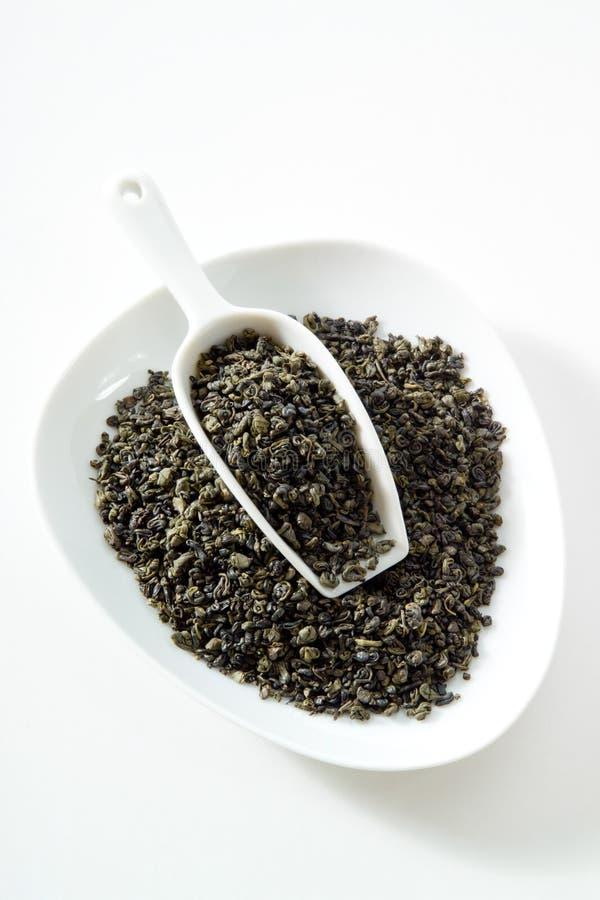 Πράσινο τσάι, τσάι πυρίτιδας, κύπελλο, άσπρο υπόβαθρο στοκ εικόνα με δικαίωμα ελεύθερης χρήσης