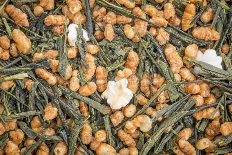 Πράσινο τσάι Genmaicha με το ψημένο ρύζι στοκ φωτογραφία
