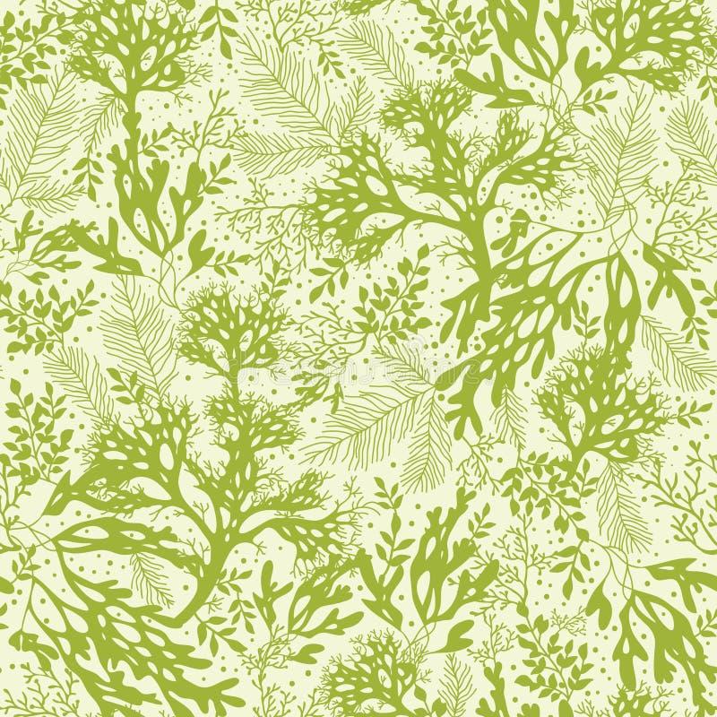 Πράσινο υποβρύχιο άνευ ραφής σχέδιο φυκιών ελεύθερη απεικόνιση δικαιώματος