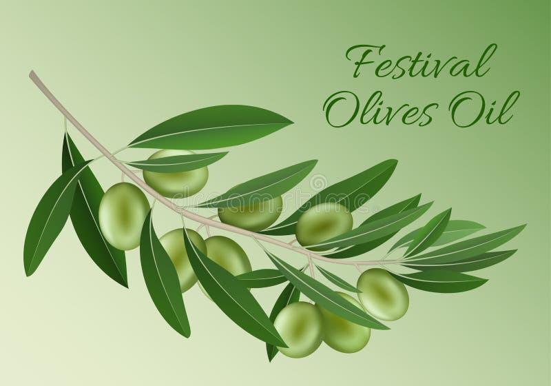 Πράσινο υπόβαθρο έννοιας ελαιολάδου φεστιβάλ, ρεαλιστικό ύφος ελεύθερη απεικόνιση δικαιώματος