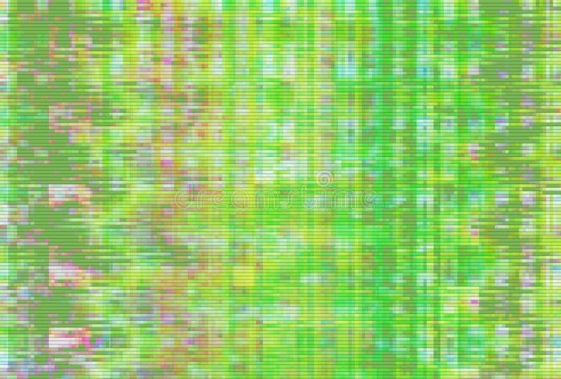 Πράσινο υπόβαθρο δυσλειτουργίας VHS χειροποίητου αντικειμένου, τρεμούλιασμα εικονοκυττάρου ελεύθερη απεικόνιση δικαιώματος