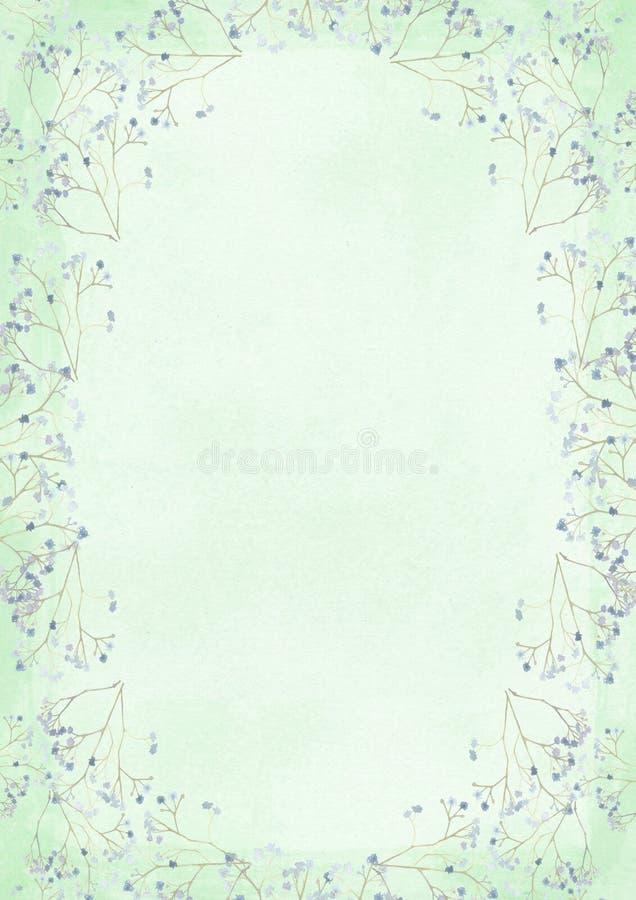 Πράσινο υπόβαθρο εγγράφου ύφους grunge αναδρομικό με το σχέδιο BO λουλουδιών απεικόνιση αποθεμάτων