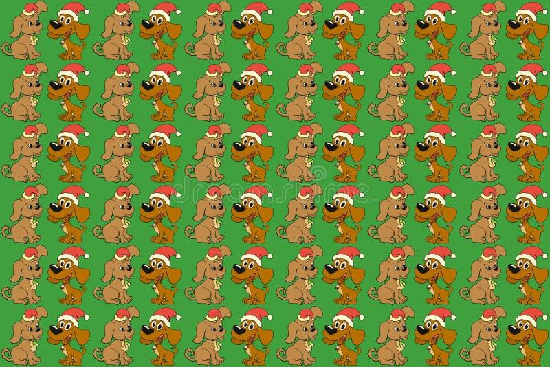 Πράσινο υπόβαθρο με δύο σκυλιά στα καλύμματα Χριστουγέννων ελεύθερη απεικόνιση δικαιώματος