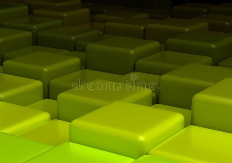 Πράσινο υπόβαθρο με τους κύβους διανυσματική απεικόνιση