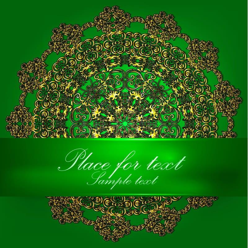 Πράσινο υπόβαθρο με το χρυσό mandala απεικόνιση αποθεμάτων