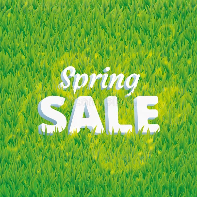 Πράσινο υπόβαθρο πώλησης άνοιξη χλόης διανυσματική απεικόνιση