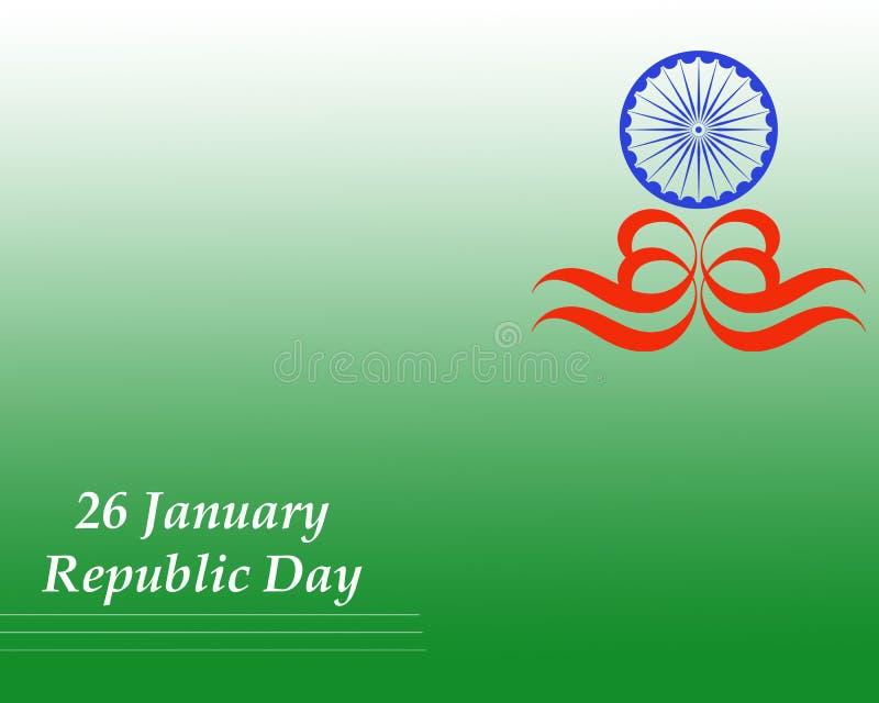 Πράσινο υπόβαθρο της Ινδίας ημέρας Δημοκρατίας με το εθνικό σύμβολο απεικόνιση αποθεμάτων