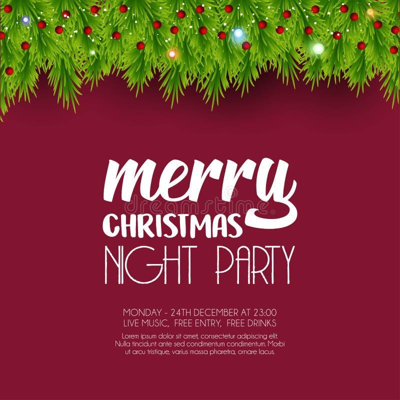 Πράσινο υπόβαθρο φύλλων κόμματος νύχτας Χαρούμενα Χριστούγεννας διανυσματική απεικόνιση