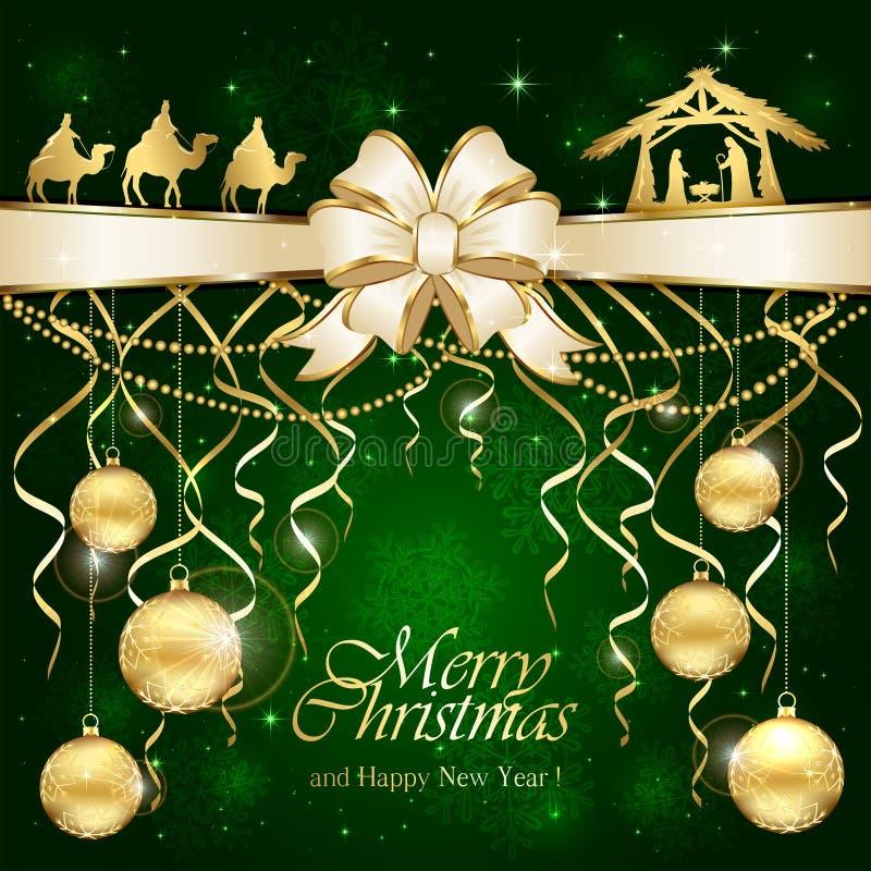 Πράσινο υπόβαθρο Χριστουγέννων με τη χριστιανική σκηνή διανυσματική απεικόνιση