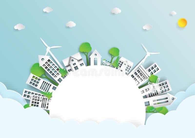 Πράσινο φιλικό περιβάλλον eco διανυσματική απεικόνιση