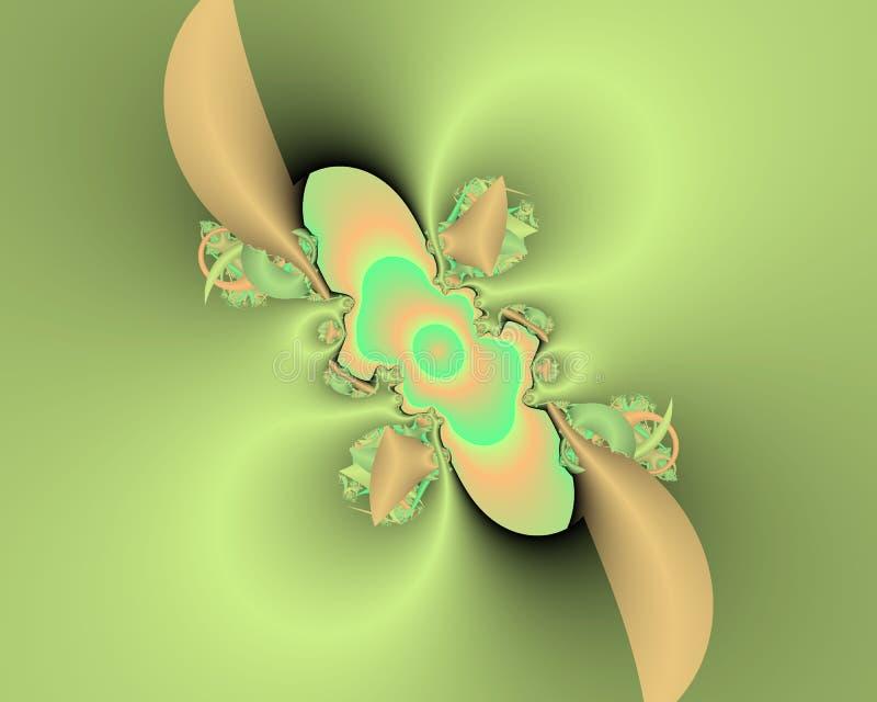 Πράσινο φωσφορίζον fractal αφηρημένο υπόβαθρο, flowery σύσταση διανυσματική απεικόνιση