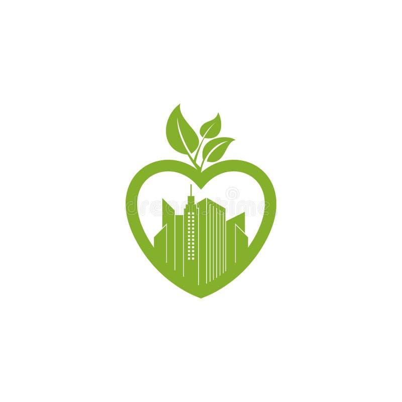 Πράσινο φύλλο στο λογότυπο δοχείων φυτών μορφής αγάπης Αφηρημένο κτίριο γραφείων στο πράσινο φύλλο στο λογότυπο εικονιδίων μορφής απεικόνιση αποθεμάτων