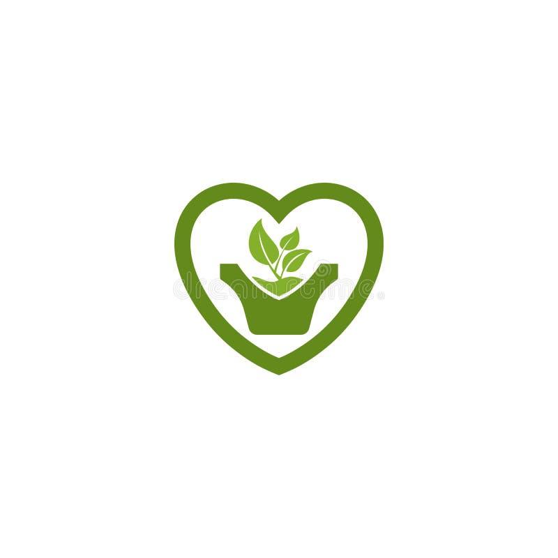 Πράσινο φύλλο στο λογότυπο δοχείων φυτών μορφής αγάπης ελεύθερη απεικόνιση δικαιώματος