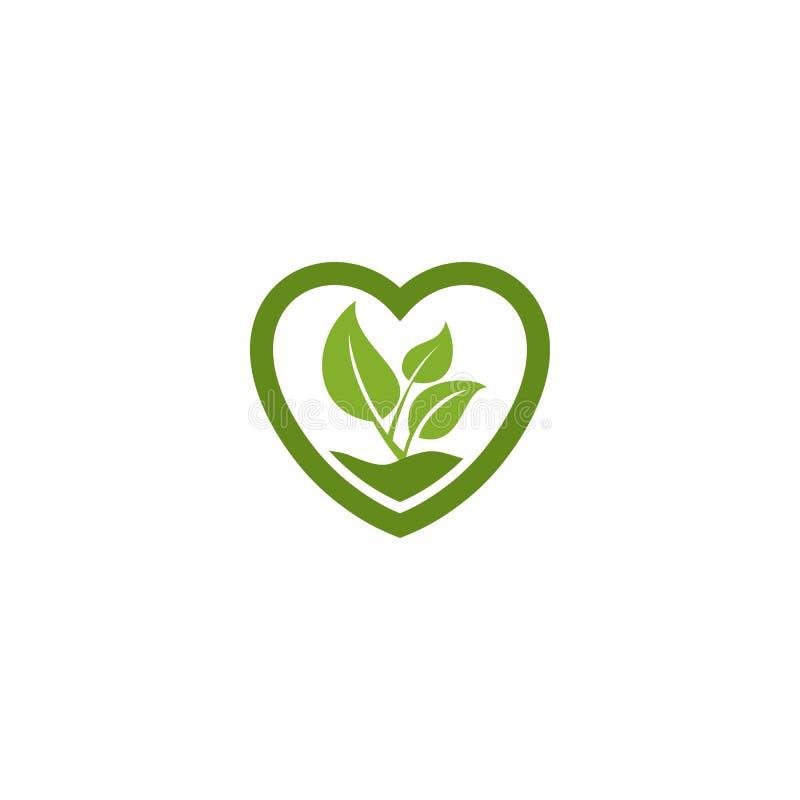 Πράσινο φύλλο στο λογότυπο δοχείων φυτών μορφής αγάπης διανυσματική απεικόνιση