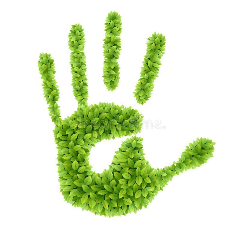 Πράσινο χέρι φύλλων. διανυσματική απεικόνιση