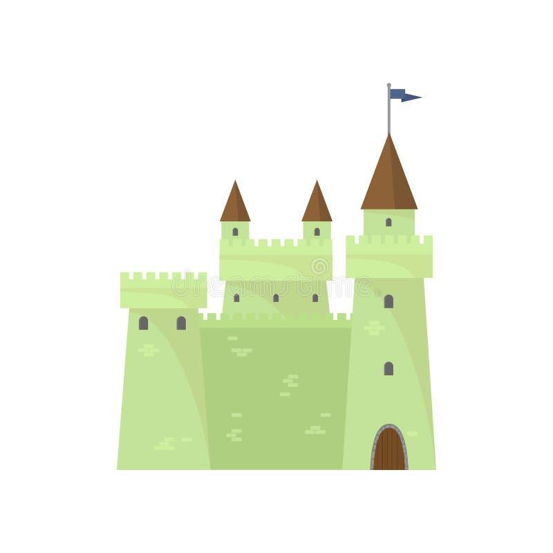 Πράσινο χαριτωμένο κάστρο τούβλου του βασιλιά πύργων ιπποτών διανυσματική απεικόνιση