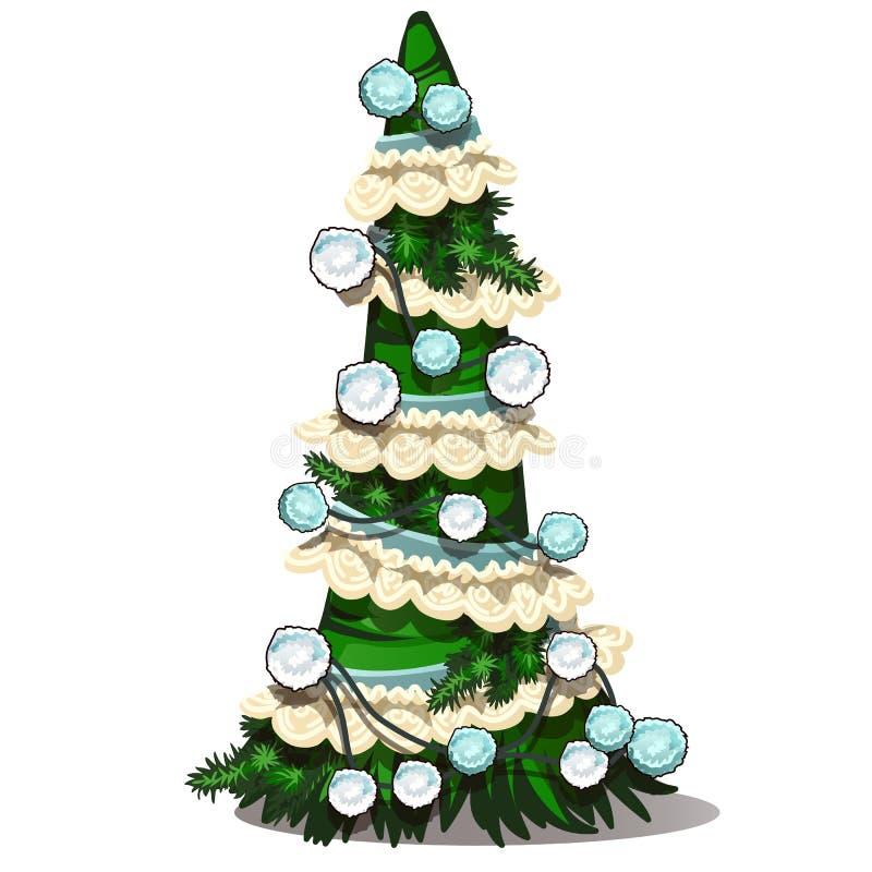 Πράσινο χριστουγεννιάτικο δέντρο με τη φανταχτερή διακόσμηση από το ύφασμα και pompom Σύμβολο διακοπών Διάνυσμα που απομονώνεται  ελεύθερη απεικόνιση δικαιώματος
