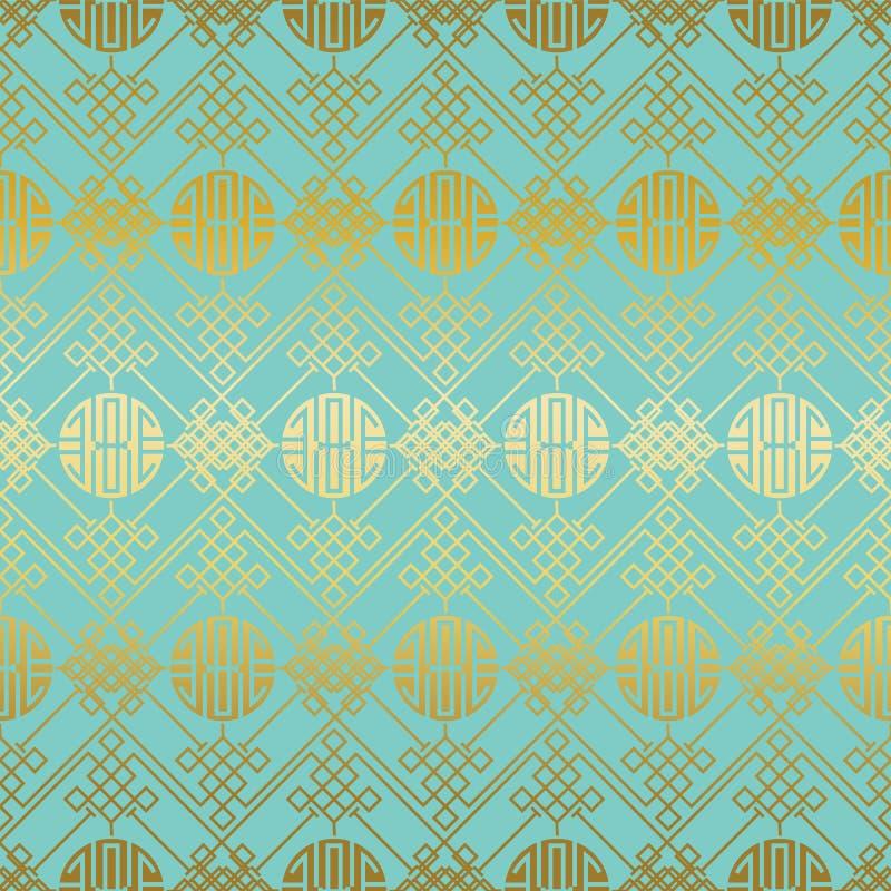 Πράσινο χρυσό κινεζικό άνευ ραφής σχέδιο απεικόνιση αποθεμάτων