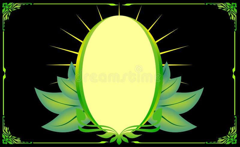 Πράσινο χρυσό floral ωοειδές φύλλο γωνιών πλαισίων ελεύθερη απεικόνιση δικαιώματος